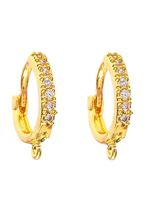 www.snowfall-beads.com - Brass earrings with eye and strass 14x12,5mm