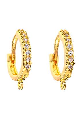 www.snowfall-beads.be - Brass oorringen met oogje en strass 14x12,5mm
