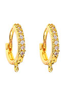 www.snowfall-beads.com - Brass earrings with eye and strass 14x12,5mm - D32145