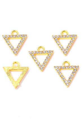 www.snowfall-perles.be - Pendentifs/breloques en métal triangle avec strass  15x13,5mm