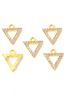 www.snowfall-beads.com - Metal pendants/charms triangle wist strass 15x13,5mm - D32258
