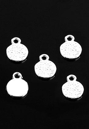 www.snowfall-beads.com - Metal name tag/label pendants/charms round 10x8mm