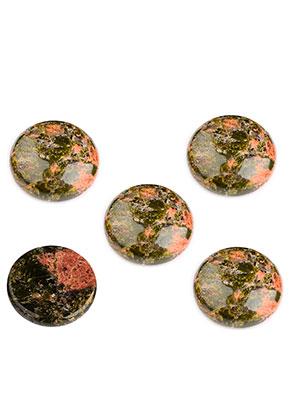 www.snowfall-beads.com - Natural stone flat back/cabochon Unakite round 18mm