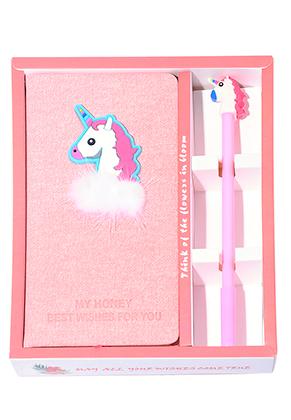 www.snowfall-fashion.nl - Notitieboek/schetsboek en pen met eenhoorn 19,5x16,5x3,5cm ^