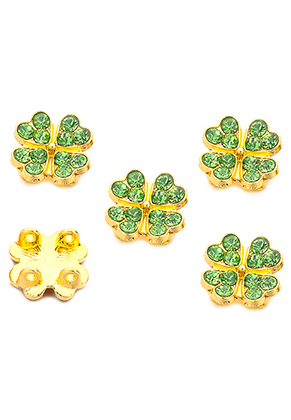 www.snowfall-beads.co.uk - Metal dividers four-leaf clover with strass 13,5x6,5mm