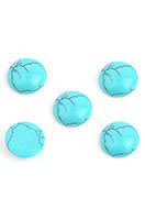 www.snowfall-beads.com - Natural stone flat backs/cabochons Turquoise Howlite round 15mm - D32517