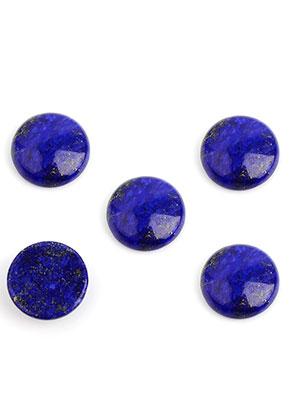 www.snowfall-beads.nl - Natuursteen plakstenen/cabochons Lapis Lazuli rond 15mm