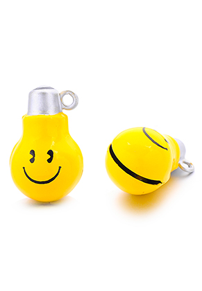 www.snowfall-beads.nl - Metalen hanger belletje smiley 26x16mm