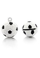 www.snowfall-beads.nl - Metalen hanger belletje voetbal 21x16,5mm - D32564