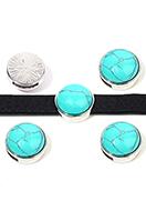 www.snowfall-beads.fr - Perle coulissante en métal avec pierre naturelle Turquoise Howlite ronde 17,5x10,5mm - D32668