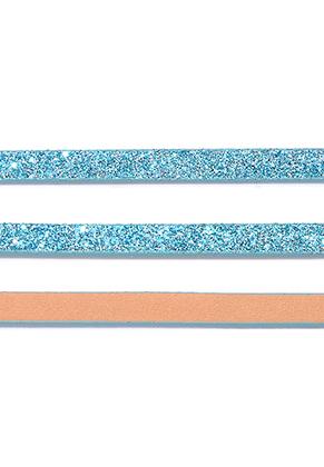 www.snowfall-beads.es - Cinta de cuero artificial con purpurina 5mm, 2mm de espesor