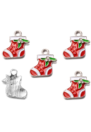 www.snowfall-beads.co.uk - Metal pendant/charm with epoxy christmas stocking 18x16,5mm