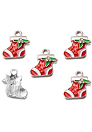www.snowfall-beads.com - Metal pendant/charm with epoxy christmas stocking 18x16,5mm - D33122
