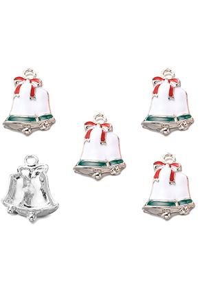 www.snowfall-beads.es - Colgantes de metal con epoxy campanas de Navidad 23x17mm