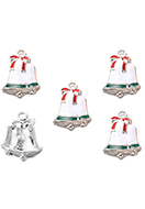 www.snowfall-beads.com - Metal pendants with epoxy christmas bells 23x17mm - D33149