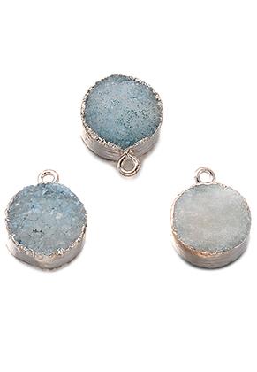 www.snowfall-beads.be - Natuursteen hanger Crystal rond 19x15mm