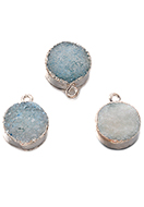 www.snowfall-beads.co.uk - Natural stone pendant Crystal round 19x15mm - D33155