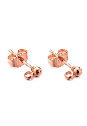 www.snowfall-beads.com - Stainless steel ear studs with eye 14x6x3mm