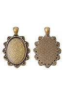 www.snowfall-beads.be - Metalen hangers kastje ovaal 47x30mm voor 30x20mm plaksteen - D33485
