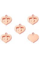 www.snowfall-beads.co.uk - Metal pendants/charms heart with feet 15x14mm - D33545