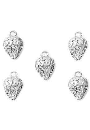 www.snowfall-beads.com - Metal pendants/charms strawberry 17x10mm