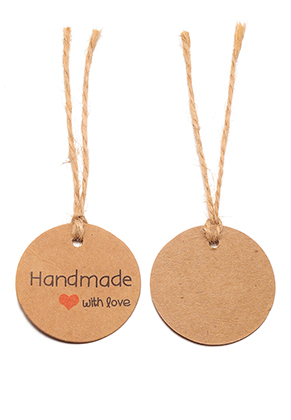 www.snowfall-beads.com - Cardboard tags/labels/pendants round with string 95x35mm