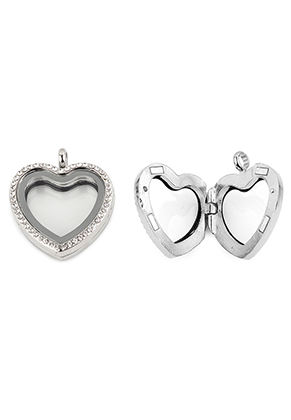 www.snowfall-beads.es - Colgante de metal medallón 'Floating Charm Locket' corazón con strass 35x30mm