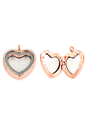 www.snowfall-beads.com - Metal pendant locket 'Floating Charm Locket' heart with strass 35x30mm