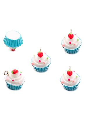 www.snowfall-beads.com - Synthetic pendants/charms cupcake 16x16mm