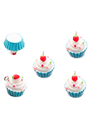 www.snowfall-beads.com - Synthetic pendants/charms cupcake 16x16mm - D33670