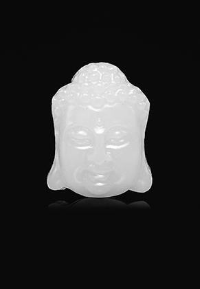 www.snowfall-beads.nl - Natuursteen hanger White Jade boeddha 30x24mm