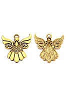 www.snowfall-beads.com - Metal pendants angel 43x42mm - D33942