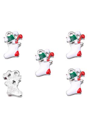 www.snowfall-beads.com - Metal pendants/charms with epoxy christmas stocking 17x11mm