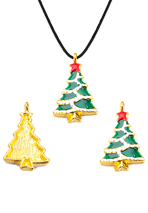 www.snowfall-beads.com - Metal pendant with epoxy Christmas tree 29x18mm