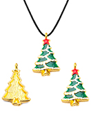 www.snowfall-beads.com - Metal pendant with epoxy Christmas tree 29x18mm - D34042