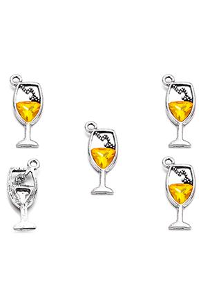 www.snowfall-beads.co.uk - Metal pendants wine glass with strass 28x12mm