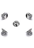 www.snowfall-beads.com - Metal look caps with eye 10x7mm voor bead 13-15mm (± 20 st.) - D34484