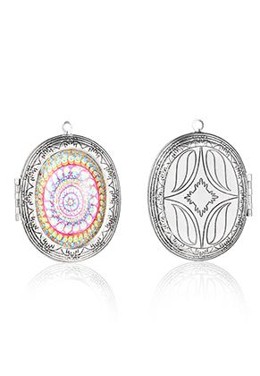 www.snowfall-perles.be - Pendentif en métal médaillon ovale avec cabochon mandala 52x40mm