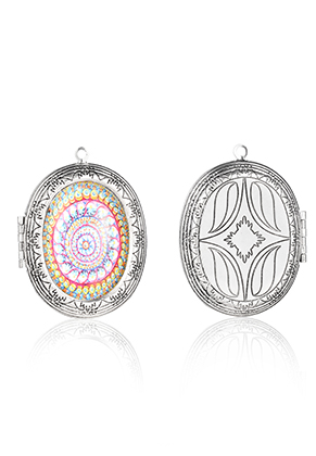 www.snowfall-beads.es - Colgante de metal medallón oval con cabujón mandala 52x40mm