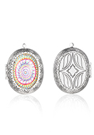 www.snowfall-beads.com - Metal pendant locket oval with cabochon mandala 52x40mm - D34501