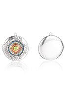 www.snowfall-beads.com - Metal pendant locket round with cabochon mandala 36x32mm - D34503