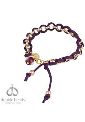 www.snowfall-beads.nl - DoubleBeads Creation sieradenpakket armband met metalen jasseron ketting, kunstsuede koord en glas kraal (inclusief handleiding)