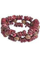 www.snowfall-beads.com - DoubleBeads Creation jewelry kit bracelet with wooden beads (including instructions) - DA00022
