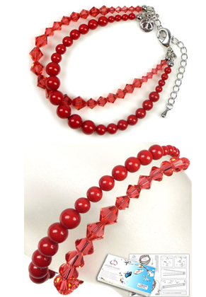 www.snowfall-beads.com - DoubleBeads Jewelry Kit Coral Glam bracelet, inner size ± 20-27cm, with SWAROVSKI ELEMENTS pearls, beads and various other materials (such as metal accessories)