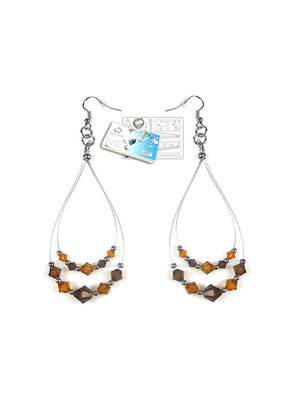 www.snowfall-beads.com - DoubleBeads Jewelry Kit LA Glamour earrings with SWAROVSKI ELEMENTS beads and various other materials (such as metal accessories)