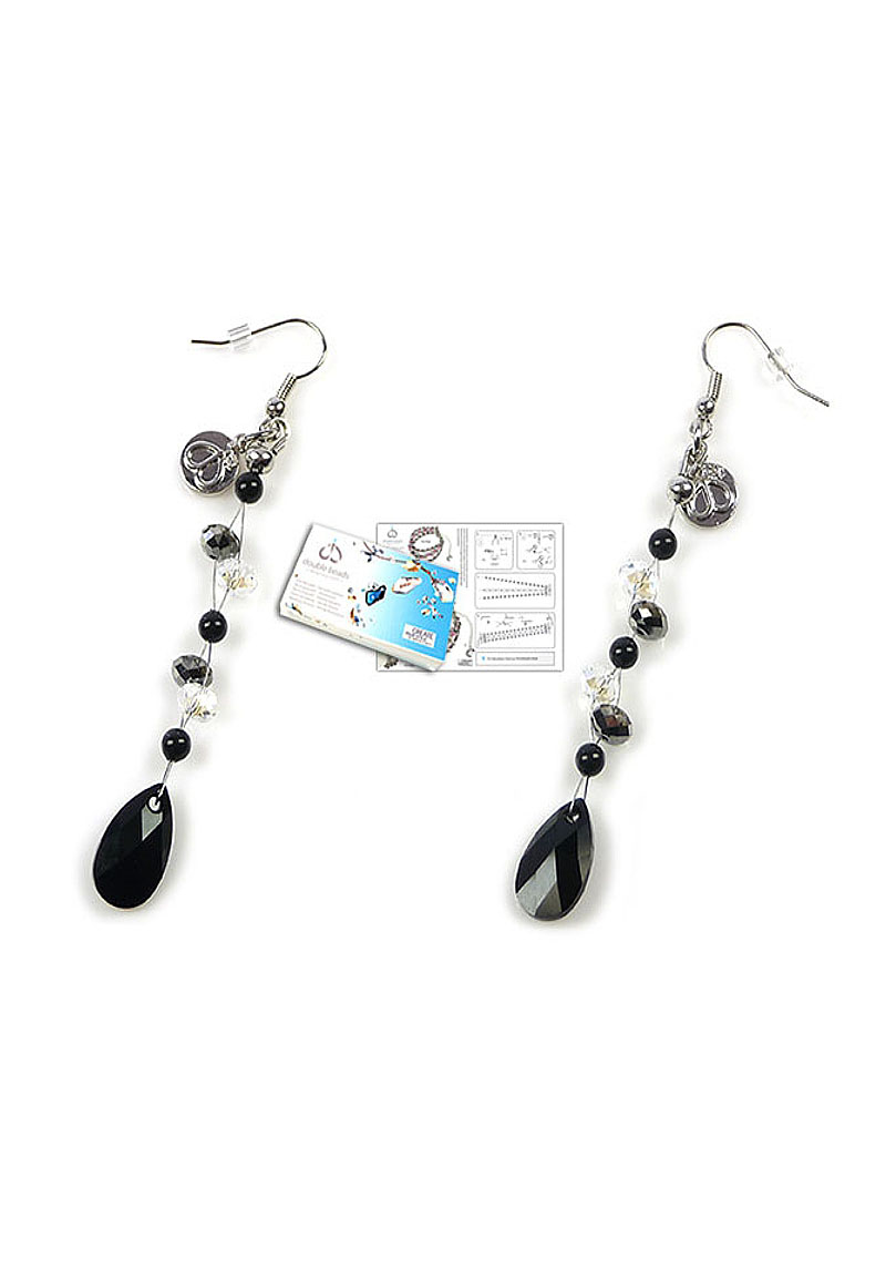 doublebeads jewelry kit crystal drop earrings 9cm with