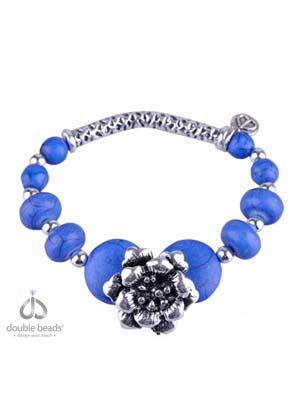 www.snowfall-beads.nl - DoubleBeads Creation Mini sieradenpakket armband met metalen en Imitatie Turquoise kralen