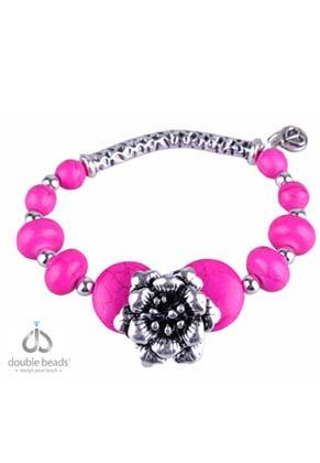 www.snowfall-beads.nl - DoubleBeads Creation Mini sieradenpakket armband met metalen en Turquoise Howlite kralen