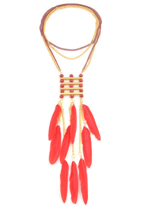 www.snowfall-beads.com - DoubleBeads Creation Mini jewelry kit necklace with feathers