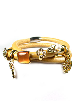 www.snowfall-beads.co.uk - EasyCharm leather wrap bracelet with 14k gold plated charms DQ 18cm